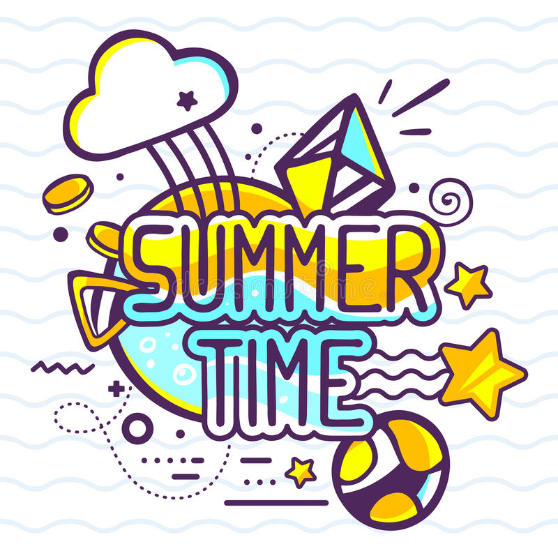 Vector illustration of yellow and blue color summer time quote. On abstract background. Hand draw line art design for web, site, advertising, banner, poster vector illustration