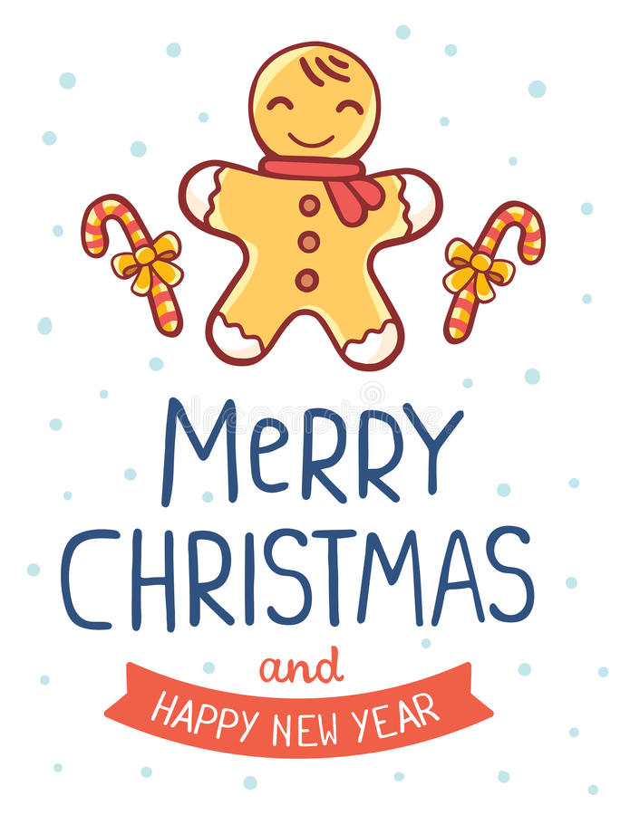 Vector illustration of yellow christmas cookie man with cane, ri vector illustration