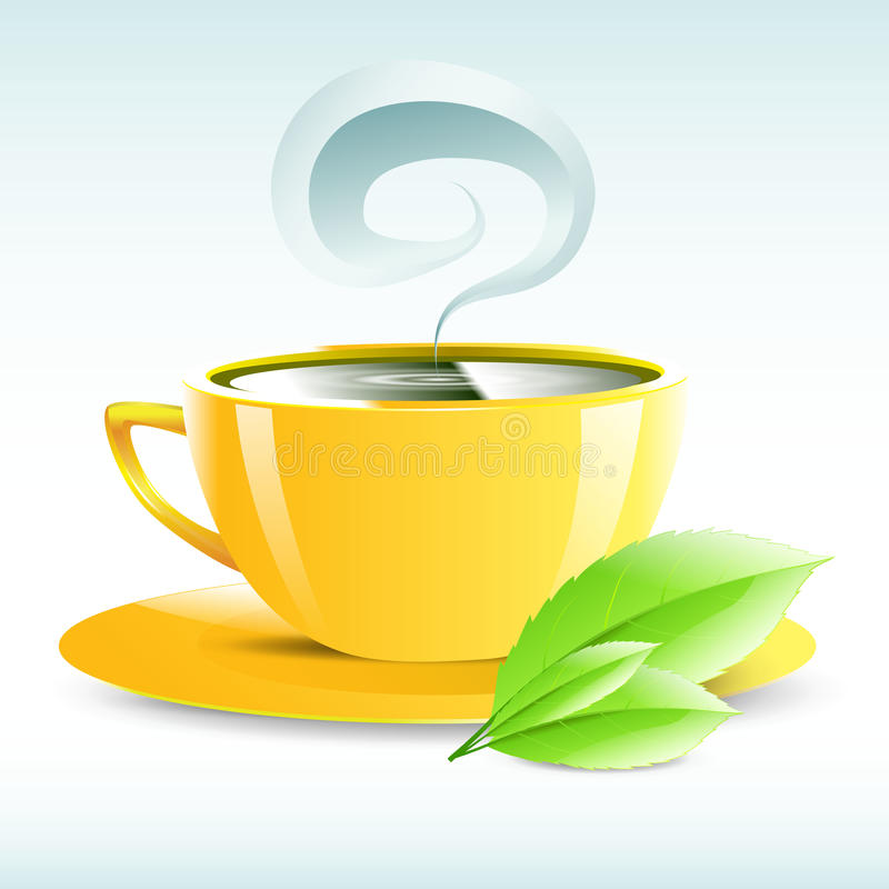 Vector illustration of a yellow cup of hot tea vector illustration