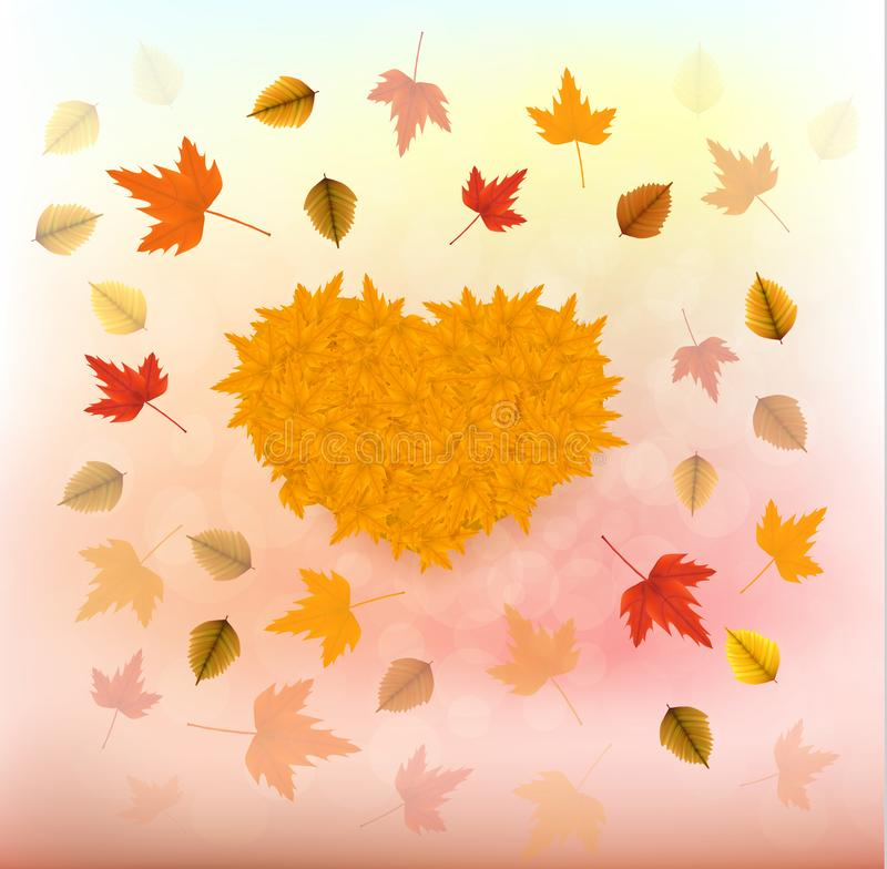 Vector illustration of an yellow sunflower with fall leaves on an autumn bokeh background. Ready elements with background. Vector illustration of an autumn vector illustration