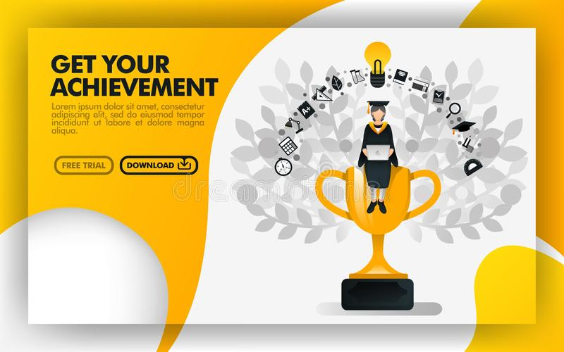 Vector illustration. Yellow website banner about get your achievement. bachelor sit on a trophy carrying a laptop and wearing toga stock illustration