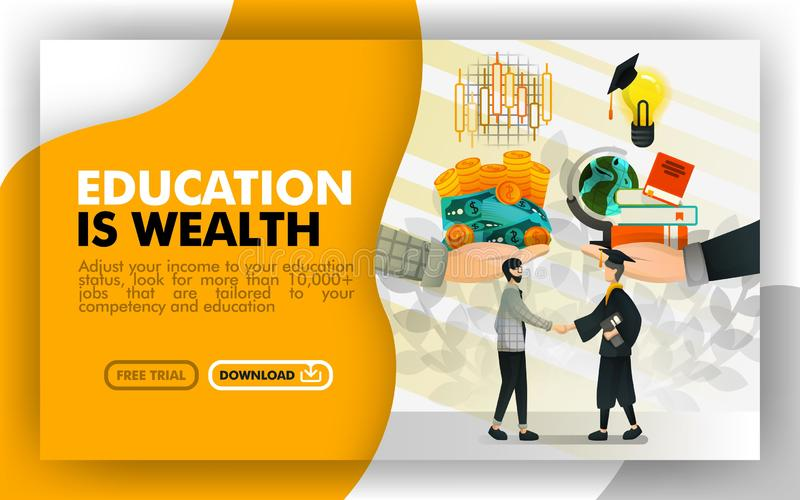 Vector illustration . Yellow and white banner website about education is wealth. Businessman exchanges money and stock into the se. Rvice in return for knowledge vector illustration