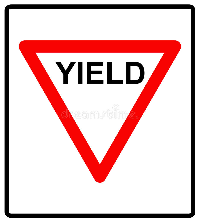 Vector illustration of a yield road sign. Stop symbol for trafiic road isolated on white, red triangle with YIELD text vector illustration