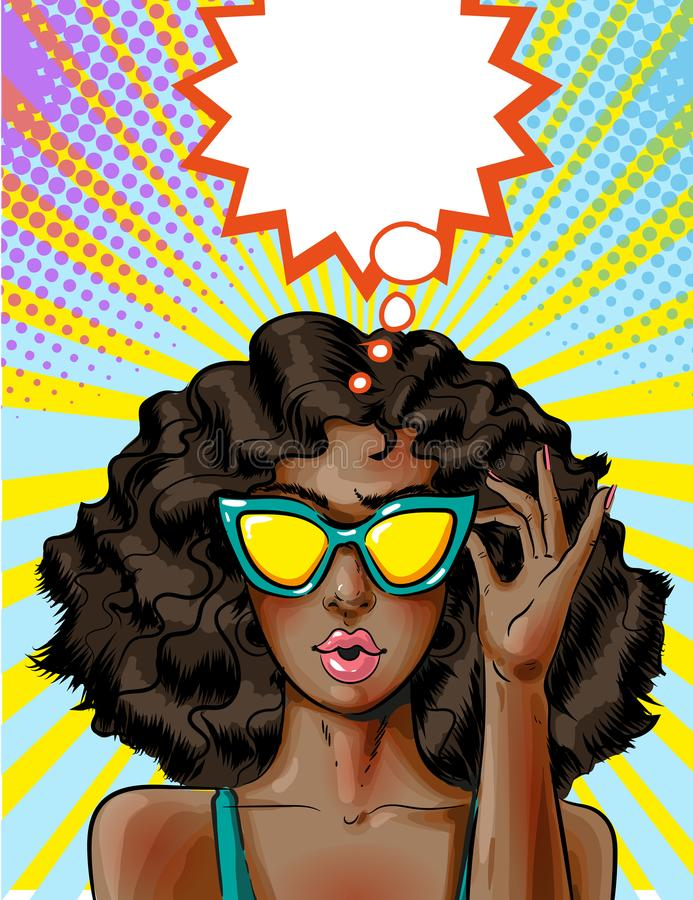 Vector pop art african american woman in yellow sunglasses. Vector illustration of young african american woman in yellow sunglasses. pin-up girl in pop art stock illustration