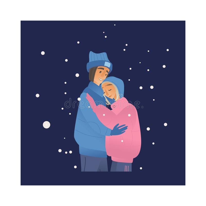 Vector illustration of young couple hugging under snowfall at night in winter time. vector illustration
