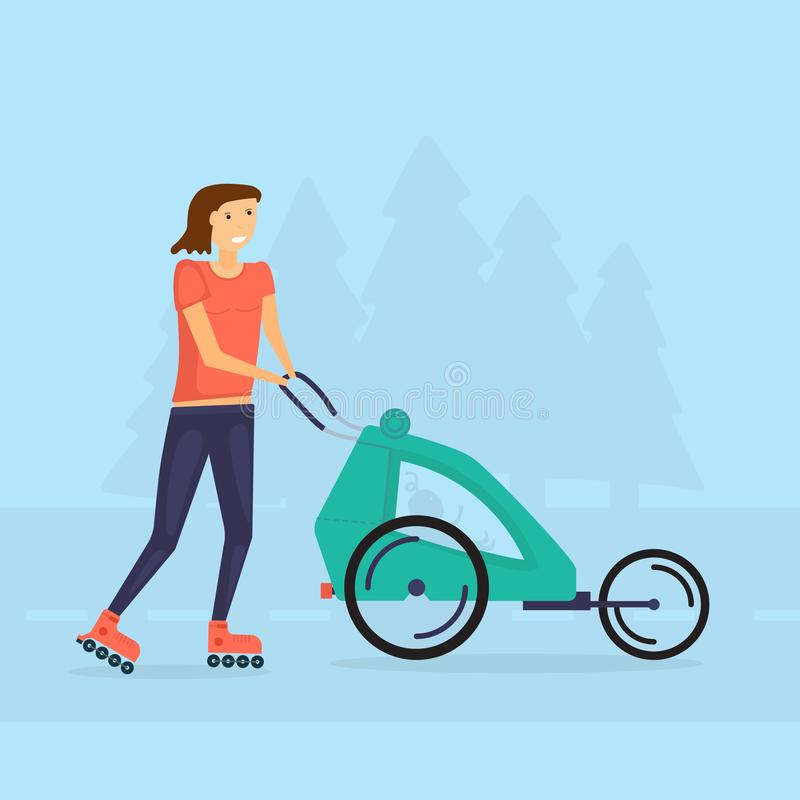 Vector illustration, Young fit mother women skating outdoors wit royalty free stock image