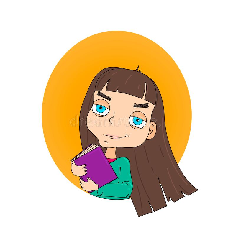 Cute little girl holding book vector illustration. royalty free illustration