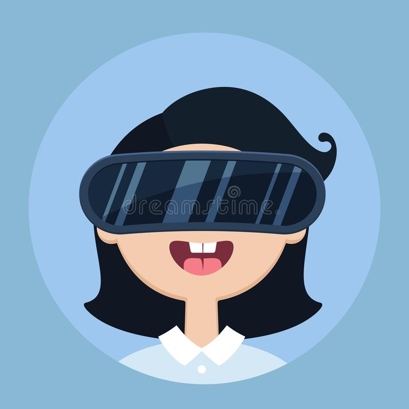Vector illustration of young girl wearing virtual reality glasses. Vector illustration in flat style of young funny girl wearing virtual reality glasses vector illustration