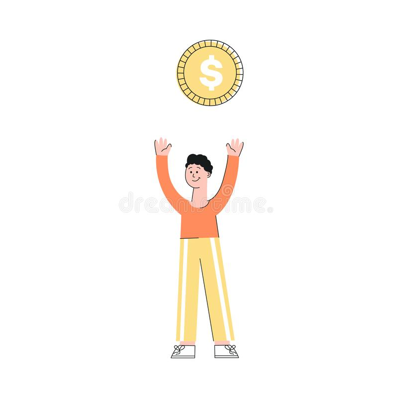Vector illustration of young man with big golden dollar coin above him isolated on white background. royalty free illustration