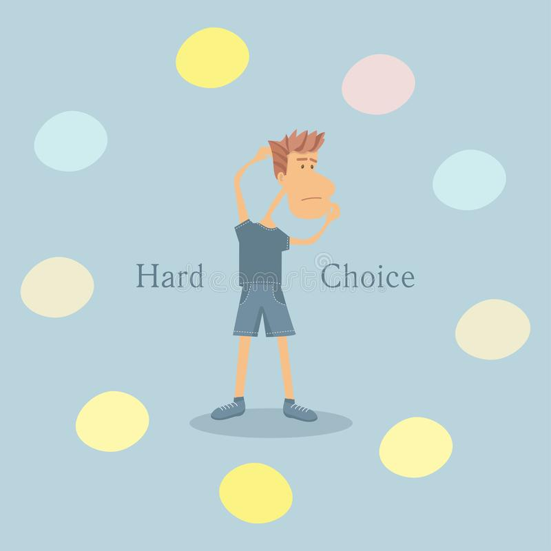 Vector illustration with a young man making hard decision. Flat style illustration royalty free illustration