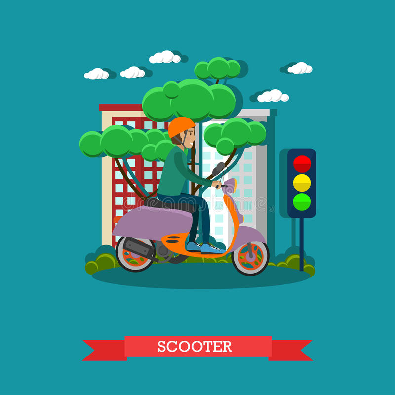 Vector illustration of young man riding scooter in flat style vector illustration