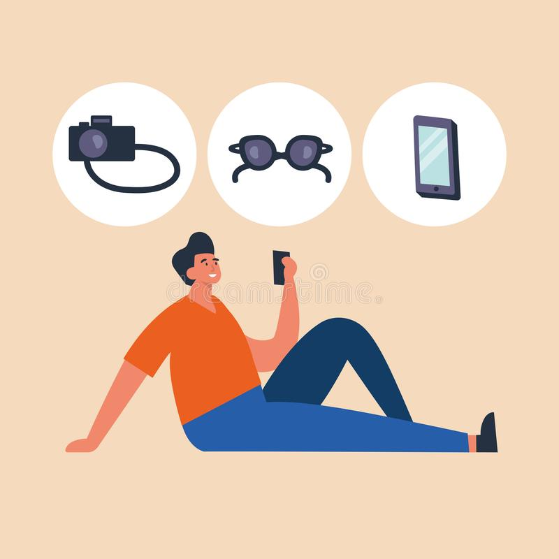 Vector illustration young man shopping online by laptop, browsing devices. Vector illustration young man shopping online by laptop, browsing devices vector illustration