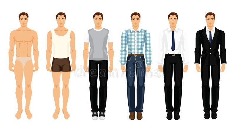 Vector illustration of young men in different clothes. On white background royalty free illustration