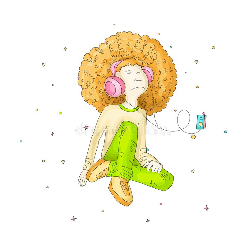 Vector Illustration of Young redhead Girl with Headphones, sitting with green pants and listening music. Teenage young stock illustration