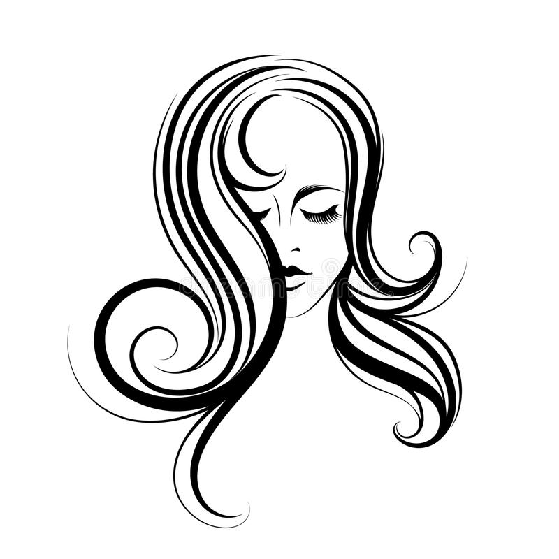 Beautiful woman with long, wavy hair and elegant makeup. royalty free illustration