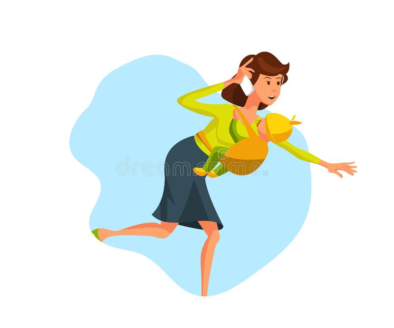 Vector Illustration Young Woman Run with Baby Boy royalty free illustration
