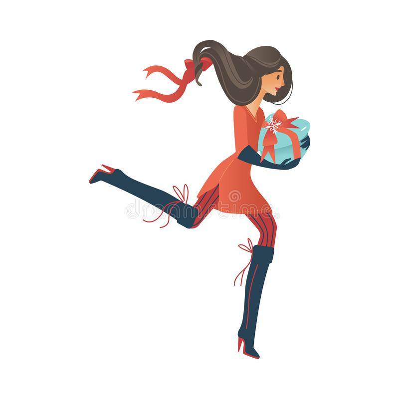 Vector illustration of young woman with wrapped present box runs and hurries to buy gifts. Vector illustration of young woman with wrapped present box runs and stock illustration