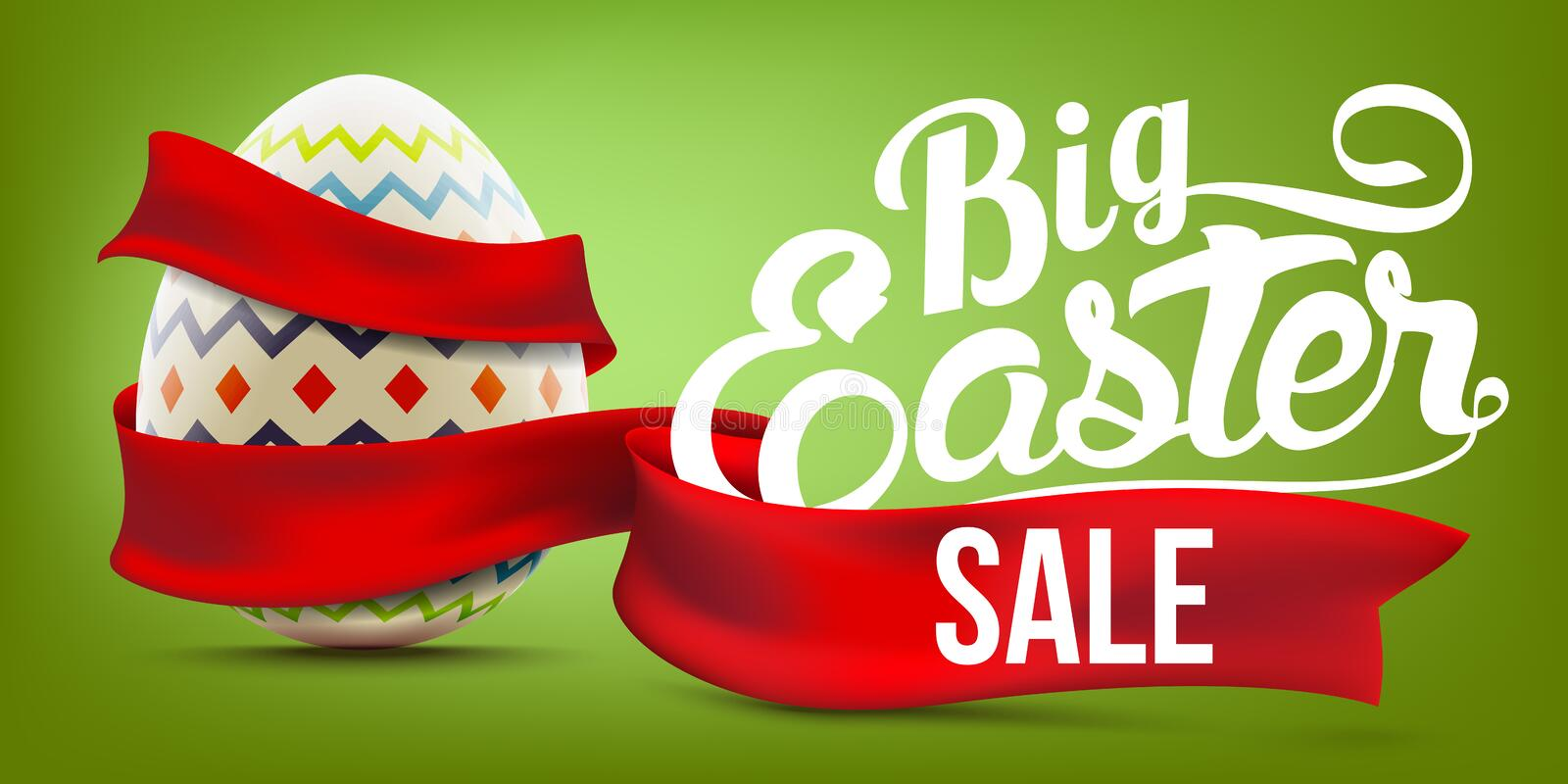 Easter sale advertising banner background with decorated egg and red ribbon royalty free illustration
