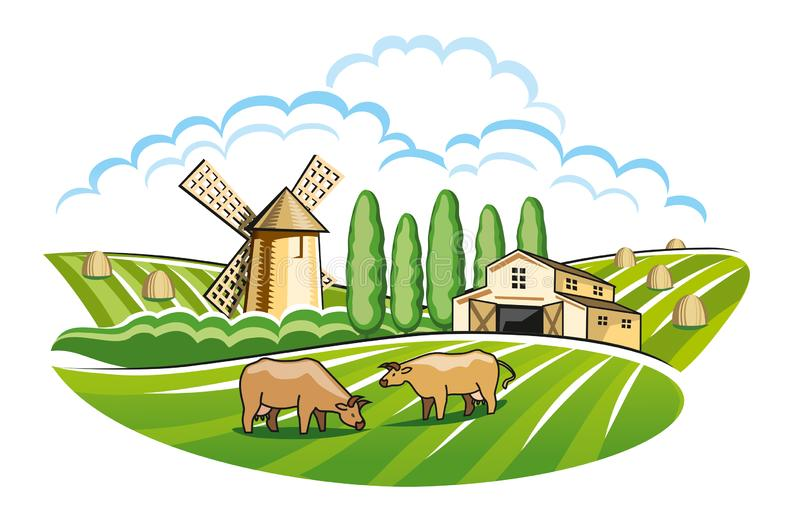 Landscape with mill and farm. Version royalty free stock photo