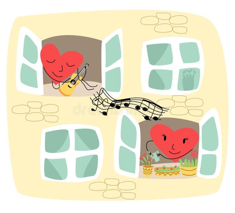 Vector-Illustration zeigt einen Teil der Wand, wo in einem Fenster ist lebhaftes Herz, das Gitarre spielt stock abbildung