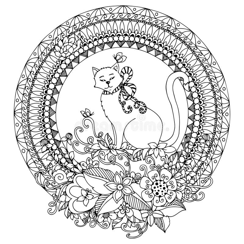 Vector illustration Zen Tangle cat in round frame. Doodle flowers, mandala. Coloring book anti stress for adults. Black white. vector illustration