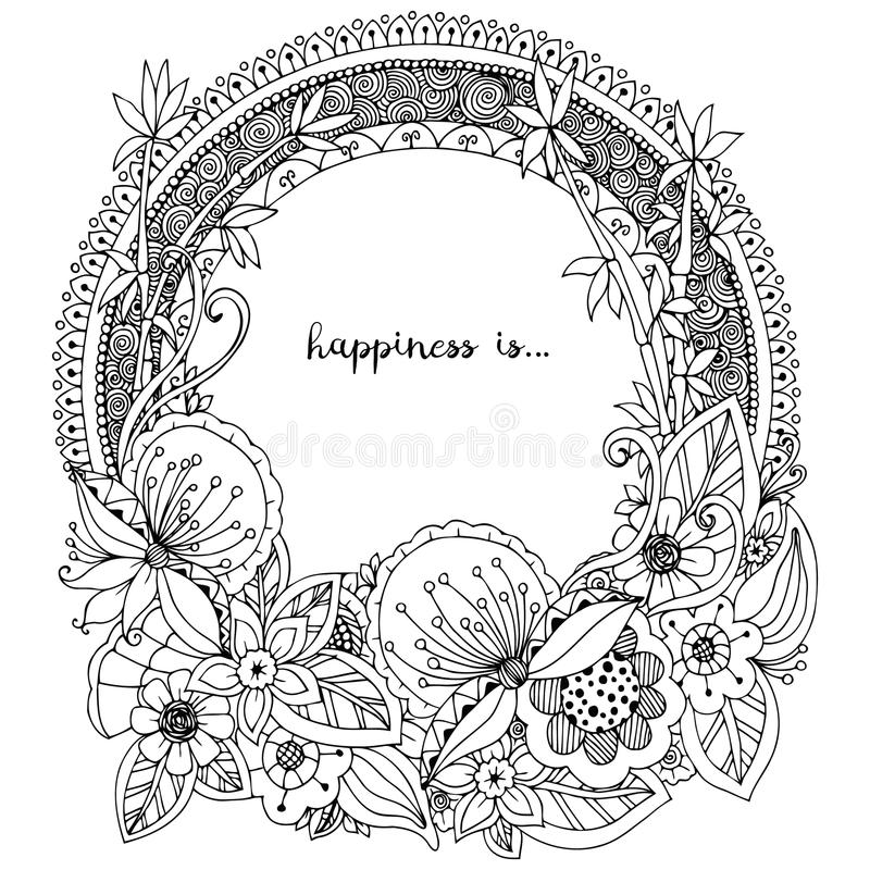 Vector illustration Zen Tangle, doodle round frame with flowers, mandala. Coloring book anti stress for adults. Black white. vector illustration