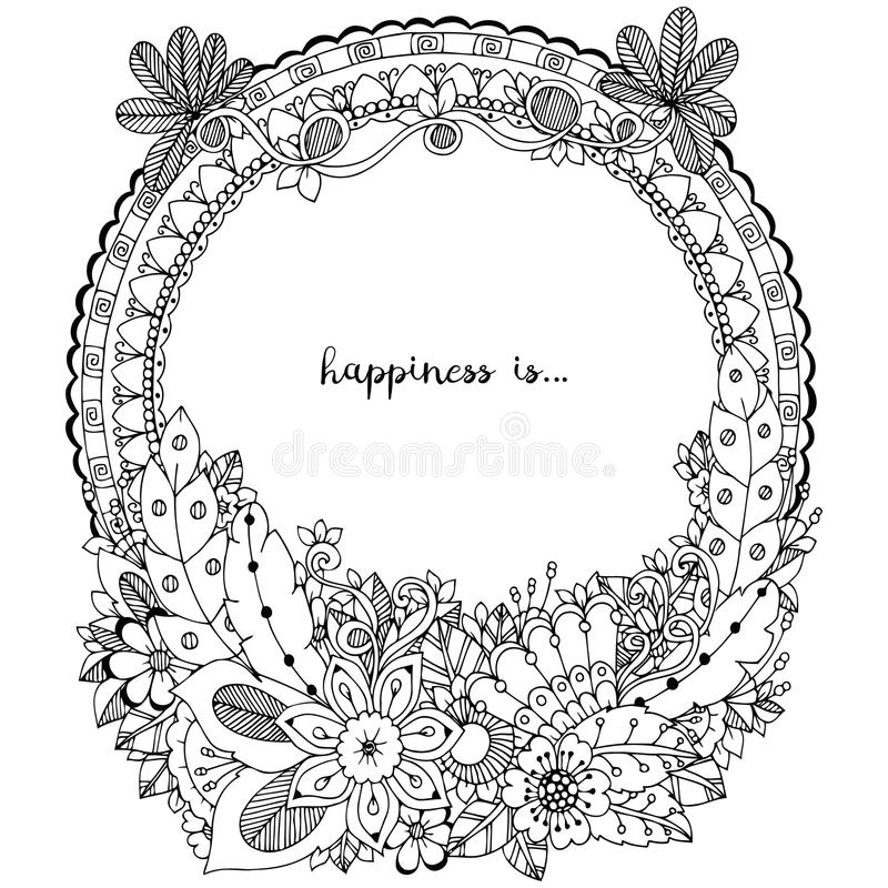 Vector illustration Zen Tangle, doodle round frame with flowers, mandala. Coloring book anti stress for adults. Black white. Vector illustration Zen Tangle royalty free illustration