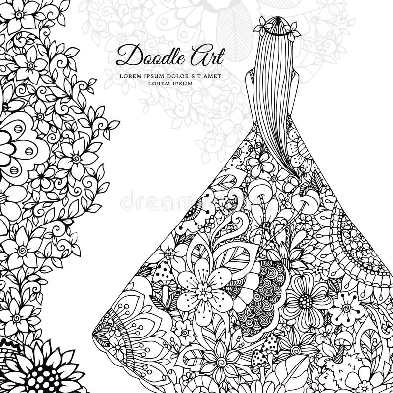Vector illustration Zen Tangle girl in a floral dress. Doodle flowers, tree. Coloring book antis stress for adults. Black and white stock illustration