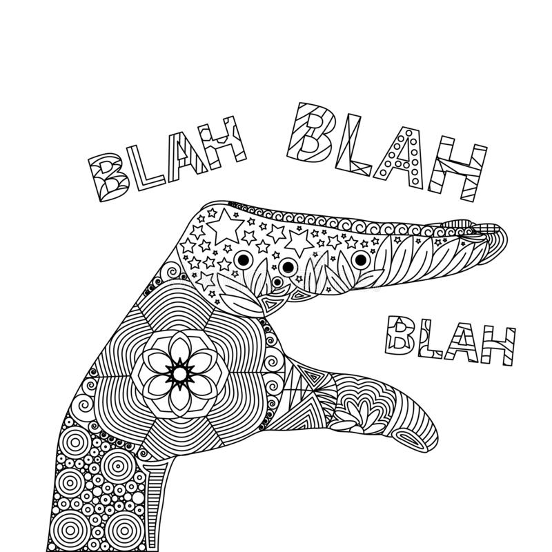 Vector Zen Tangle of Gesture of Blah Blah Blah stock illustration