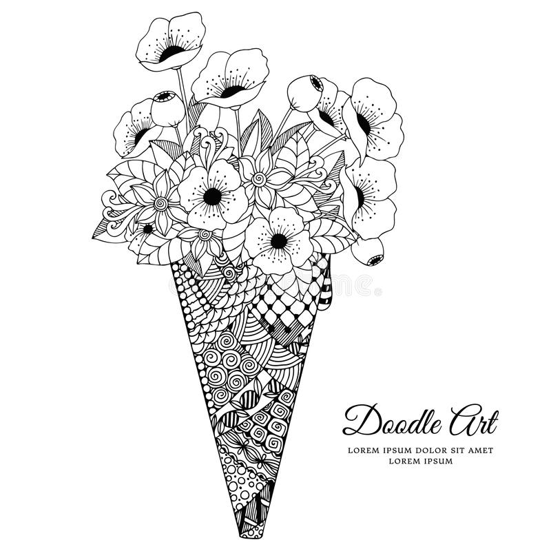 Vector illustration Zen Tangle, ice cream with poppies. Doodle drawing. Coloring book anti stress for adults. Black. And white stock illustration