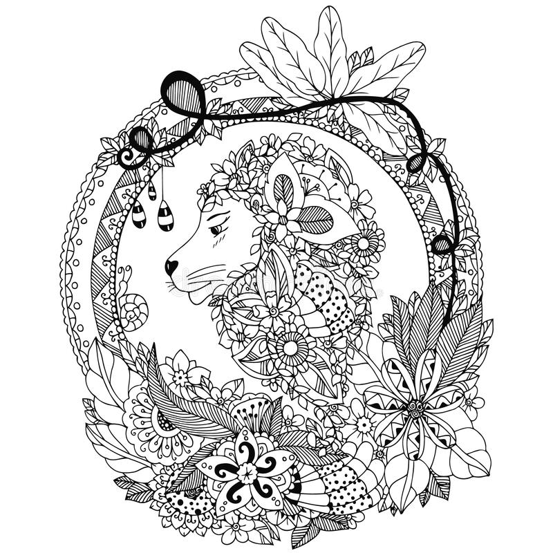 Vector illustration Zen Tangle lion in a circular floral frame. Doodle flowers, portrait. Coloring book anti stress. Black white. Vector illustration Zen Tangle stock illustration