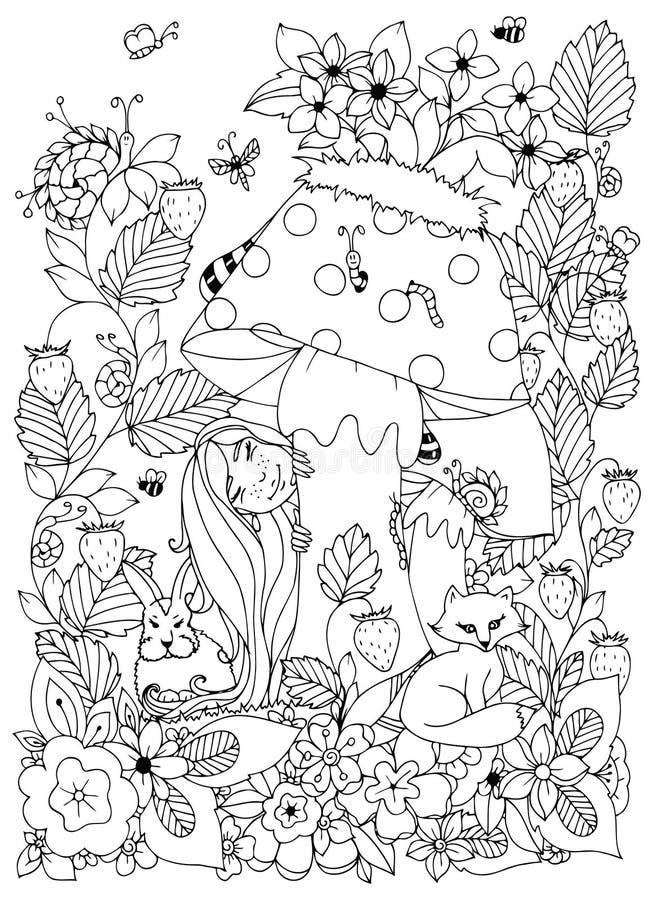 Vector Illustration Zen Tangle-Mädchen mit den Sommersprossen, die hinter einem Pilz versteckt werden stock abbildung