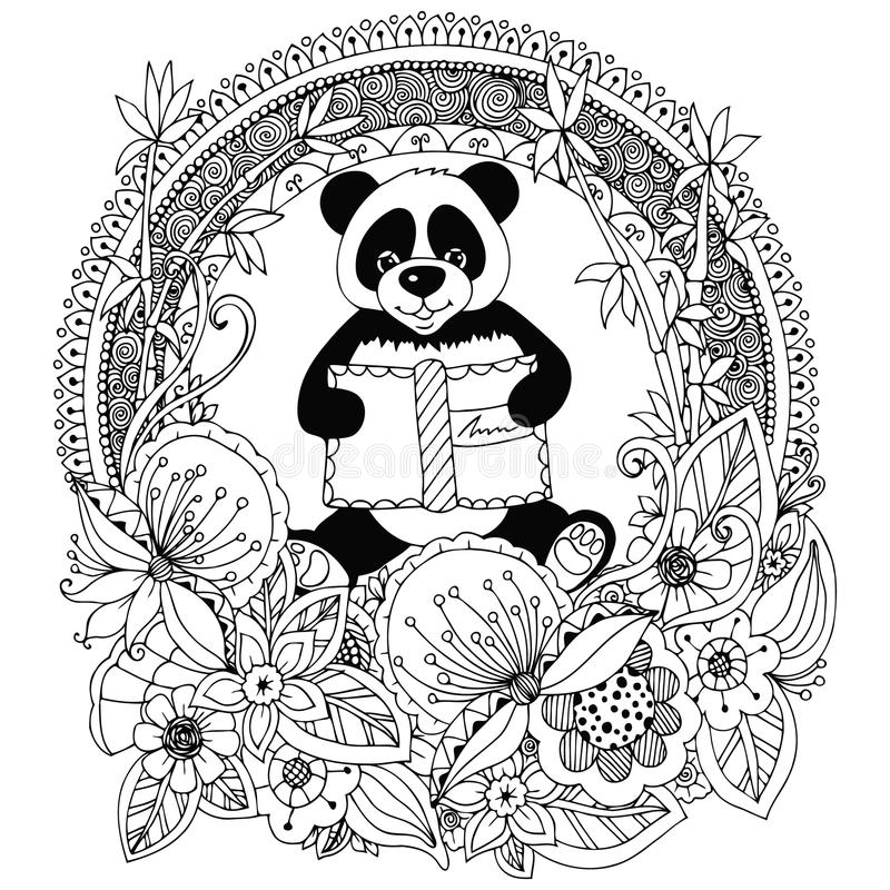 Vector Illustration Zen Tangle Panda With A Book Floral ...