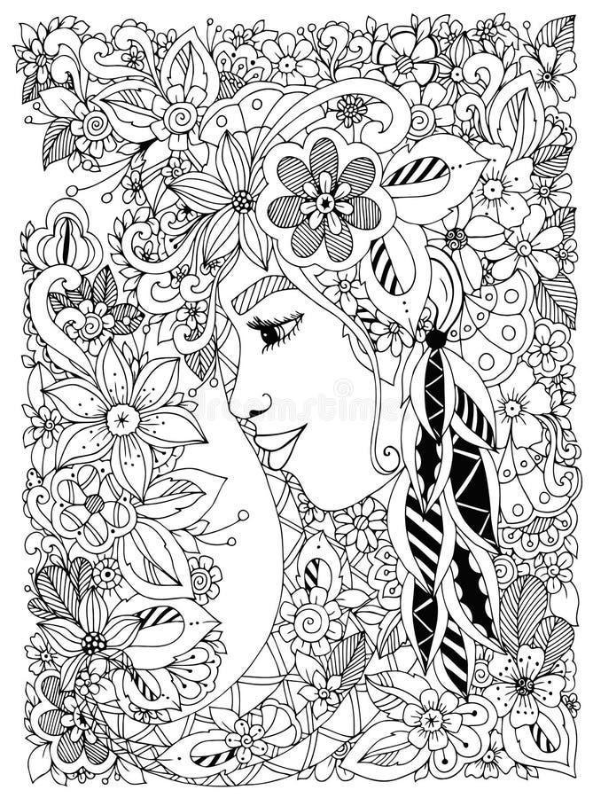 Vector Illustration Zen Tangle-Porträt einer Frau in einem Blumenrahmen lizenzfreie abbildung