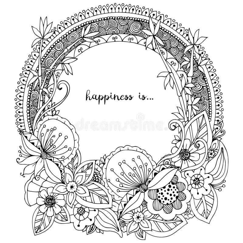 Vector Illustration Zen Tangle, runder Rahmen des Gekritzels mit Blumen, Mandala Malbuchantidruck für Erwachsene Schwarzes Weiß vektor abbildung