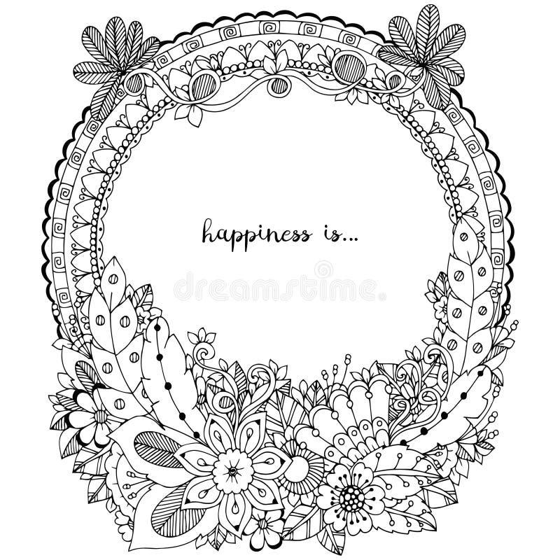 Vector Illustration Zen Tangle, runder Rahmen des Gekritzels mit Blumen, Mandala Malbuchantidruck für Erwachsene Schwarzes Weiß lizenzfreie abbildung