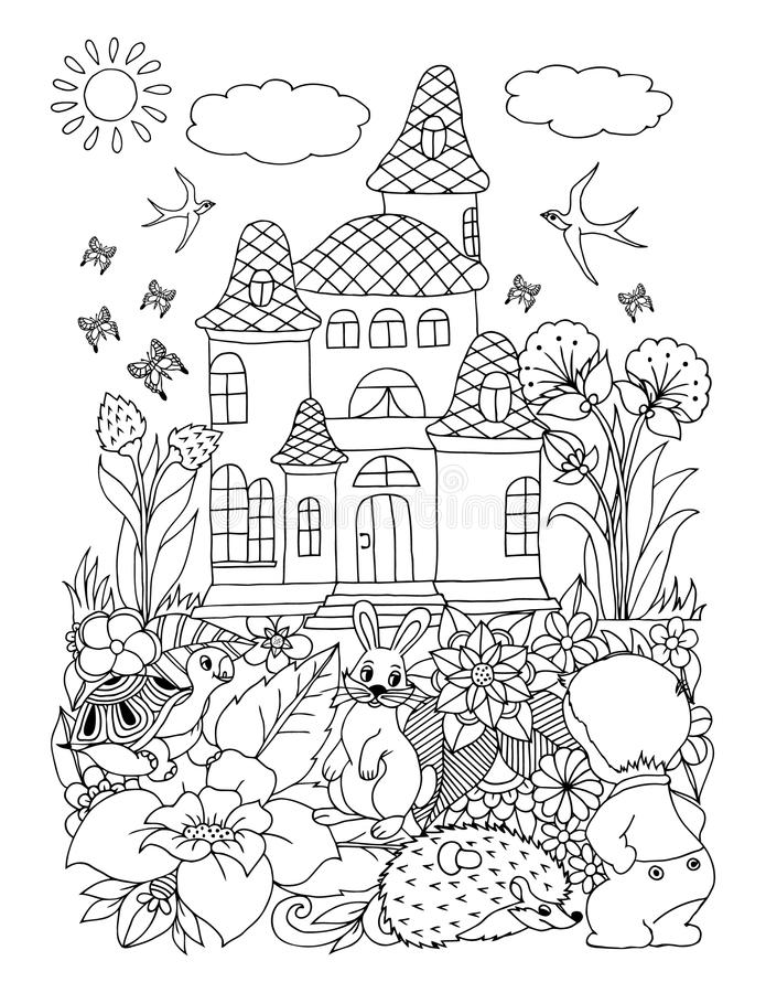Vector illustration zentagl, a child with the beasts among flowers near the palace. Doodle drawing. Meditative exercises. Coloring. Book anti stress for adults stock illustration