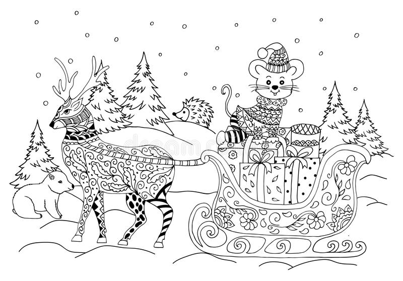 Vector illustration zentagle. Vector illustration zentagl, New year sleds with the mouse in a forest among the beasts. Doodle drawing. Meditative exercises royalty free illustration