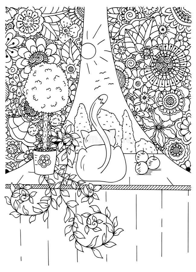 Download Vector Illustration Zentangl Cat And Curtains Flower Frame Doodle Drawing Meditative Exercises