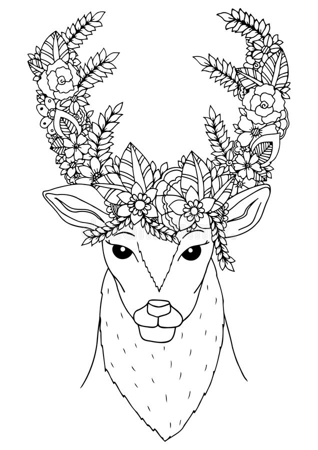 Deer stress coloring coloring pages for Deer coloring pages for adults