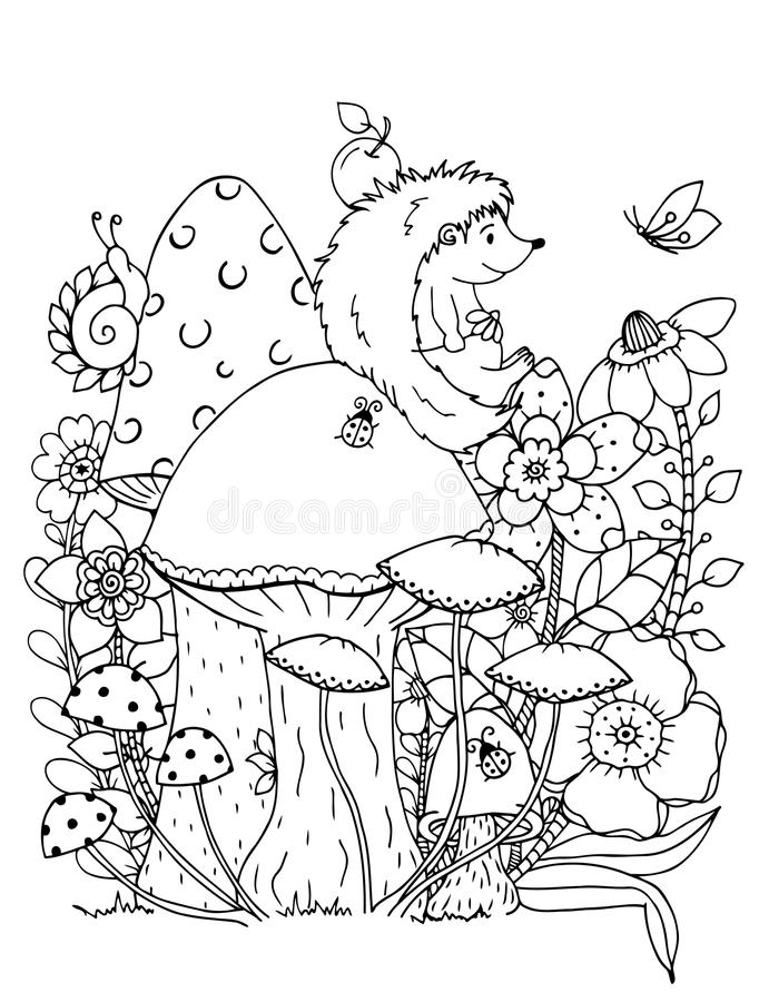 Vector illustration zentangl. Doodle hedgehog Coloring page Anti stress for adults. Black white. stock illustration