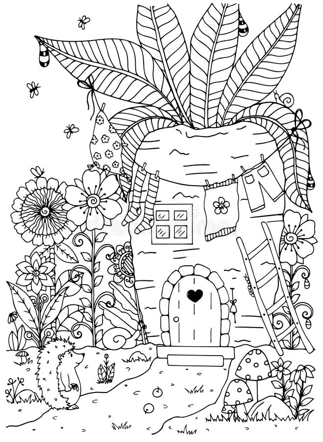 Vector illustration zentangl. Doodle hedgehog and House in of carrots. Coloring page Anti stress for adults. Black white. Vector illustration zentangl. Doodle royalty free illustration