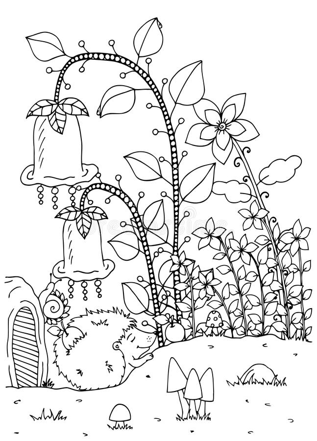 Vector illustration zentangl. Doodle hedgehog and house. Coloring page Anti stress for adults. Black white. Vector illustration zentangl. Doodle hedgehog and vector illustration