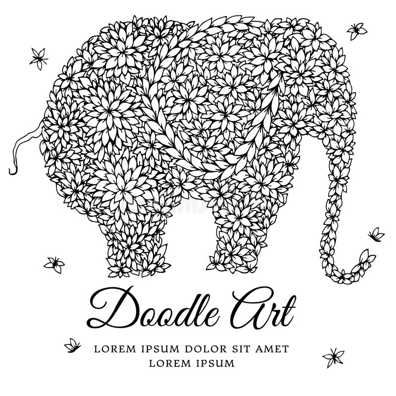 Vector Illustration Zentangl Elephant Doodle Drawing Meditative Exercises Coloring Book Anti Stress For Adults Black