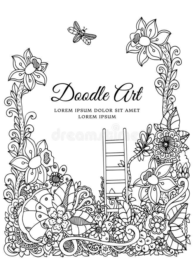 Vector illustration zentangl, floral frame. Doodle drawing. Coloring book anti stress for adults. Meditative exercises. Black and white stock illustration