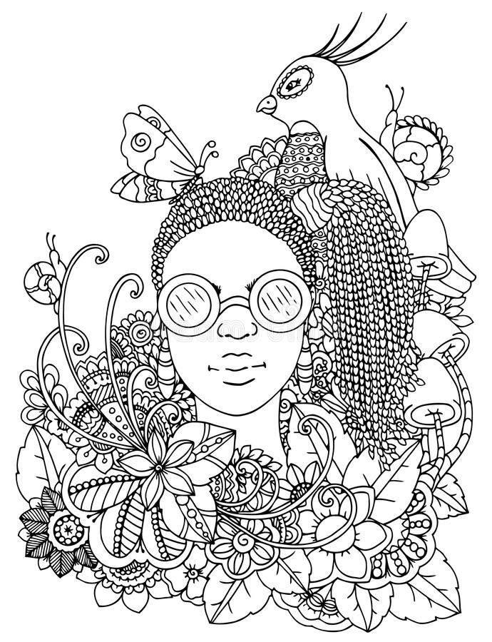 Vector illustration zentangl girl with African braids in the flowers. Doodle drawing pen. Coloring page for adult anti stock illustration