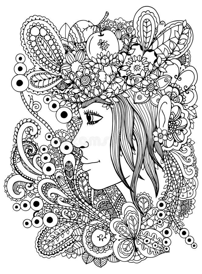 Vector illustration zentangl girl in the floral frame. Doodle drawing. Meditative exercise. Coloring book anti stress royalty free illustration