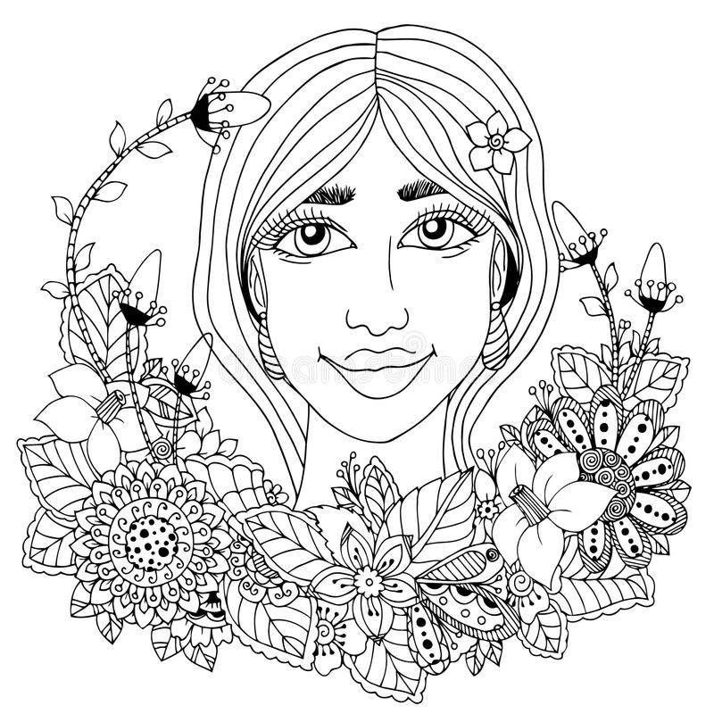 Vector Illustration Zentangl Girl With Flowers In Her Hair