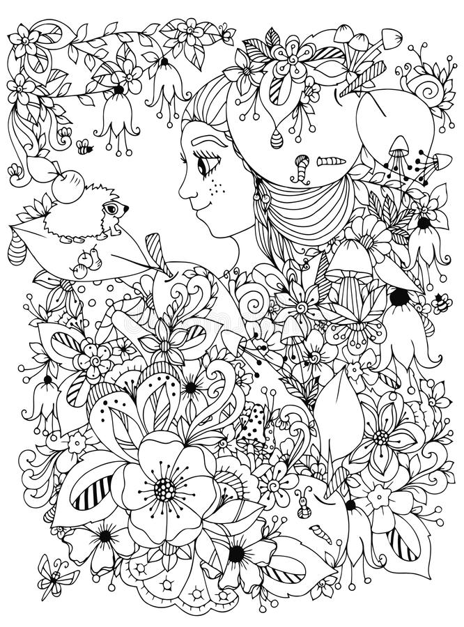 Vector Illustration Zentangl Girl With Freckles In Flowers