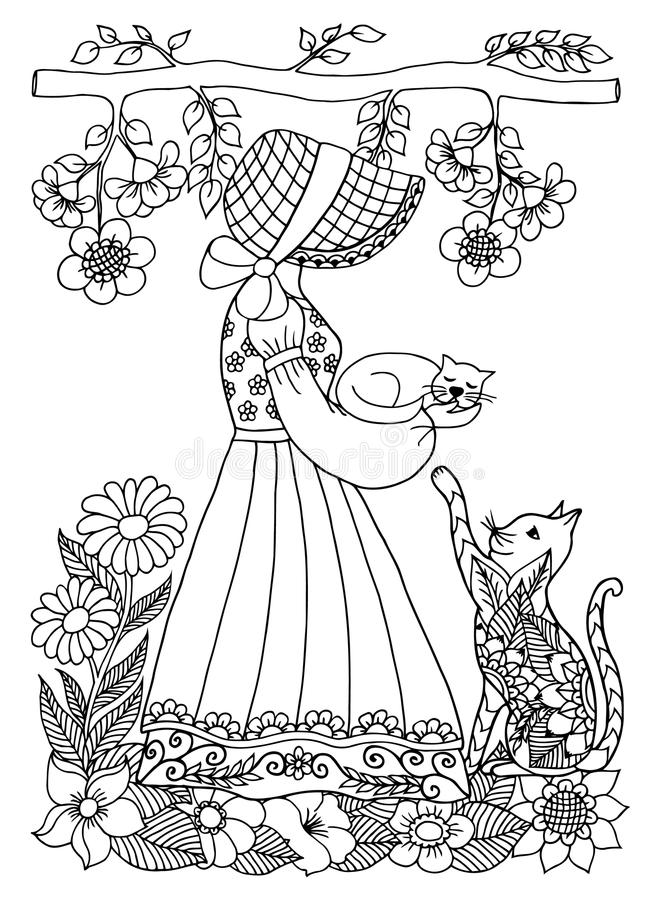 Vector illustration zentangl girl with a kitten on arms or hand in the flowers. A cat asks for hands of. Doodle drawing. Coloring stock illustration